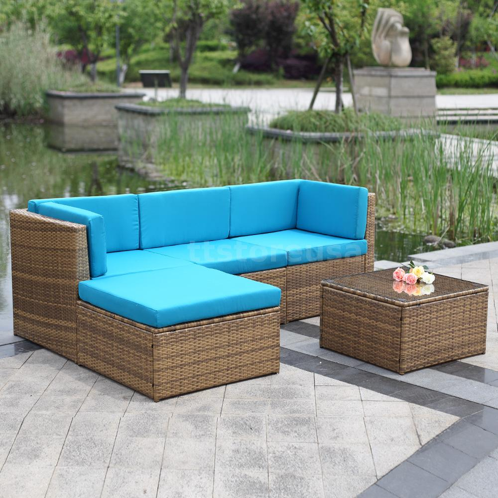 new outdoor 9pcs furniture sectional pe wicker patio. Black Bedroom Furniture Sets. Home Design Ideas