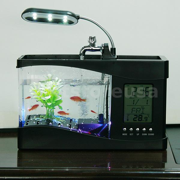 Mini usb desktop aquarium lcd display fish tank clock led for Desktop fish tank