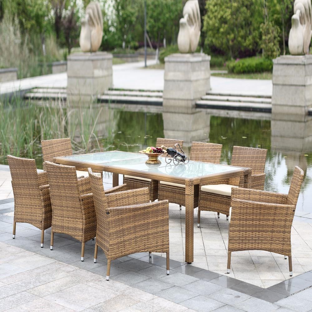 9pc rattan outdoor dining set chairs table pool garden for Patio dining sets with bench seating