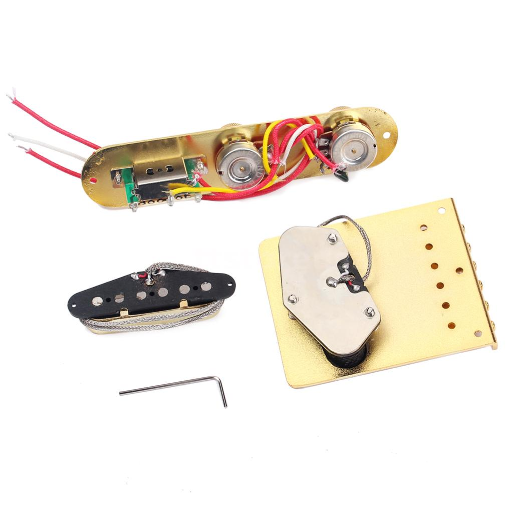 electric guitar 6 saddle bridge pickup w 3 ways switch control plate h1a7 ebay. Black Bedroom Furniture Sets. Home Design Ideas