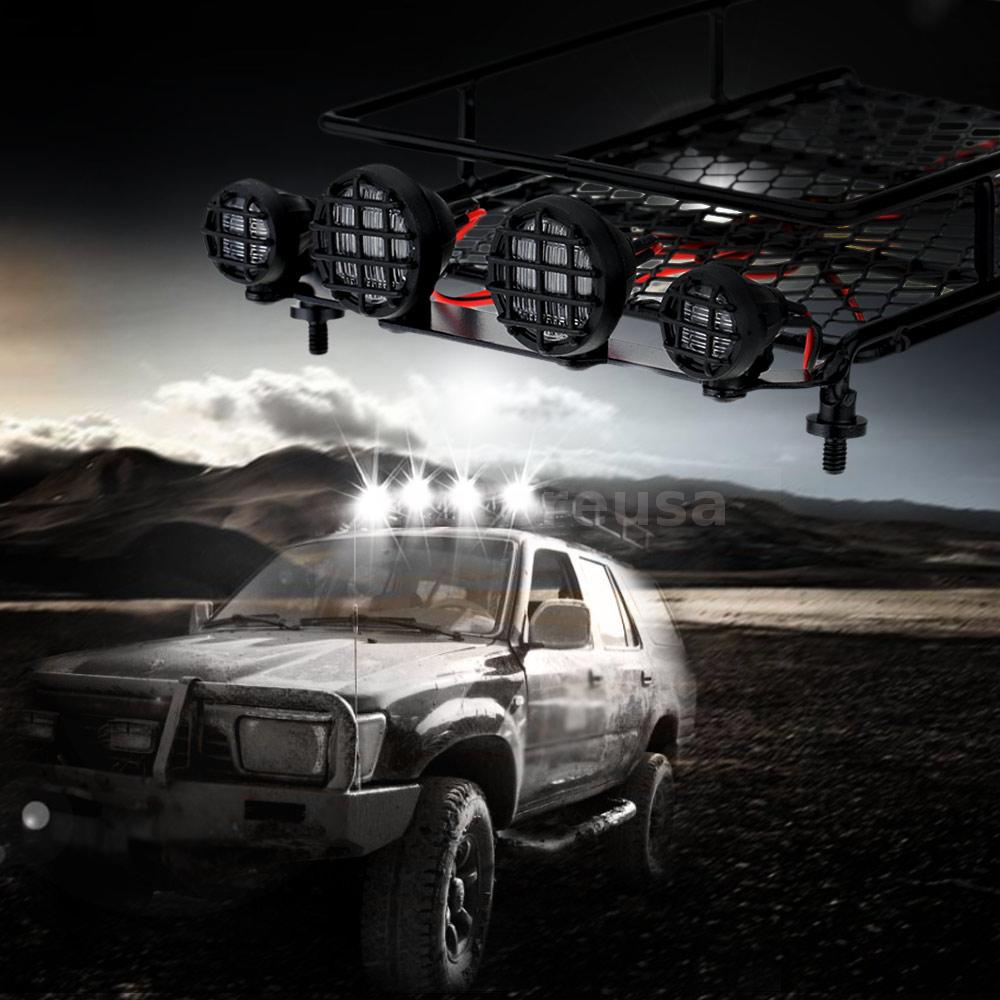 Original austar roof luggage rack with led light bar for 110 18 rc this roof luggage rack led light bar is special for rc car models with four white led lights suitable for 110 18 rc rock crawler rally rc 4wd tamiya aloadofball Image collections