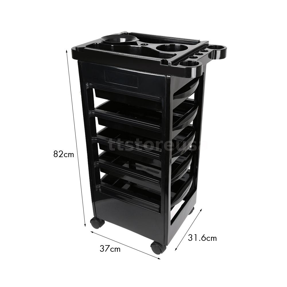 5 drawers hairdressing storage trolley salon rolling for Salon trolley